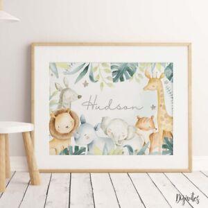Baby, Nursery Wall Art prints. Safari Jungle Wall art decor. Unisex. Shower Gift