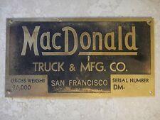 Macdonald Truck & MFG.CO Brass Truck Emblem Badge Script old Vintage Name Plate