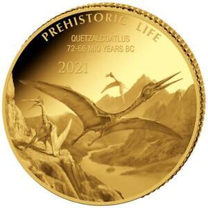 Kongo 100 Francs 2021 - Prehistoric Life (6.) - Quetzalcoatlus - 0,5 gr Gold PP