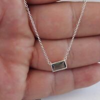 RECTANGULAR NECKLACE PENDANT W/ .50 ct BLUE TOPAZ/18'' / 925 STERLING SILVER