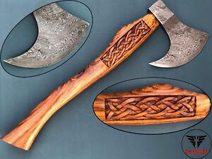 Custom Handmade Damascus steel  Hatchet  Axe with engraved Rose Wood Handle.