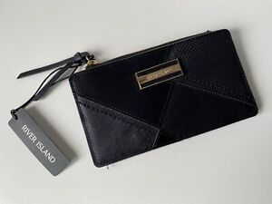 River Island Black Slimline Faux Leather/ Suede Fold-Out Purse-Card Slot/ Zip