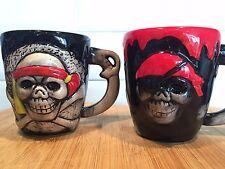 Red or Grey & Black Pirate Creepy Skull Skeleton Face Ceramic Mug - 7458