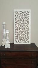 Handcarved Wooden Wall panel Floral Leaves Art Hanging Garden White 100 x 50