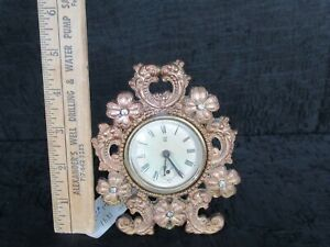 Antique 1891 Cast Metal Small Waterbury Clock, Floral, Cut Glass Pistils (Works)
