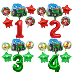 6PC Tractor Theme Party Balloon Set Red Green Foil Kids Gift Birthday Decor New
