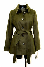 Kensie Coat Double Breasted Button Closure Belt Olive Size L MyAFC