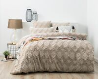 Park Avenue Medallion cotton Vintage washed Tufted Quilt Cover Set Stone