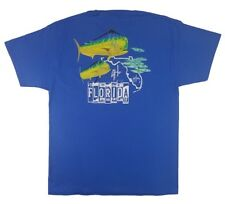 Guy Harvey Mens Florida Roadtrip S/S Pocket T-Shirt, Ocean Blue, Large, NWT
