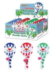 3x Mini Snowman Paddle Bats Xmas Christmas Eve Box Stocking Party Bag Filler