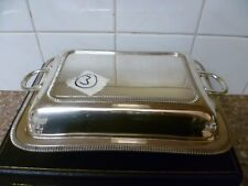 ANTIQUE, RECTANGULAR,SILVER PLATED SERVING DISH. SERVING TUREEN By BARKER Bros'