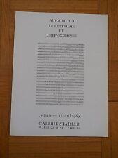 AUJOURD'HUI LE LETTRISME & L'HYPERGRAPHIE. catalogue 1969. Pomerand, Isou, Satié