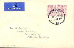 """GB 1952 First Flight """"SOUTHAMPTON - PORT STANLEY"""" LAST DAY POSTAGE RATE @LOOK@"""