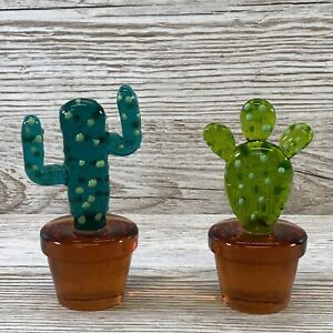 Vintage Pair Of Murano Glass Bottle Stopper Cactus Flower Plant Pot RARE