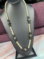 "Vintage Cream Pearl Long Necklace Sweater Style 28"" Black Detailed Accent Beads"