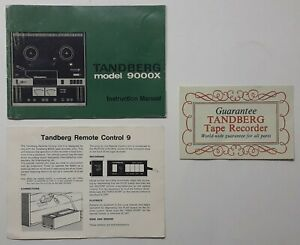 Tandberg 9000X Instructions Owner's Manual Reel to Reel Player Remote Control 9