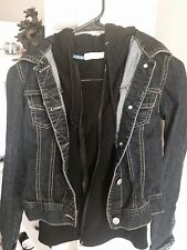 Womans jean jacket with cotton hoodie
