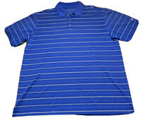Nike Men's Golf Polo Rugby Regular Large Blue Striped Golfer Golfing DriFit
