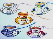 5x Gift Tags Cup Tea Vintage Cup Saucer Happy Birthday Strung Gift Female Blank