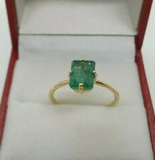Pretty 18ct Yellow Gold Natural Emerald Ring