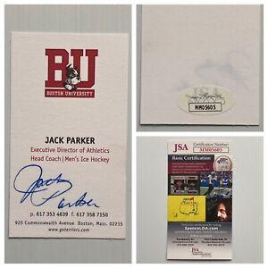 Boston University Hockey Coach Jack Parker Signed Autograph Business Card JSA