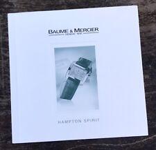 BAUME & MERCIER Hampton Spirit Booklet International Guarantee Warranty Manual