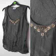 Wallis Size 14 Olive Dark Green Gold Beaded Beads Evening Vest Cami Camisole Top
