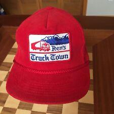 Vintage Corduroy Ken's Truck Town Red Trucker Hat Cap
