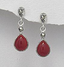 Sterling Silver Natural Genuine Red Agate Teardrop Dangle Pushback Stud Earrings