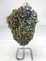 """7.5"""" Amethyst Aura Rainbow Crystal Quartz Druzy Cluster W/ Steel Base"""