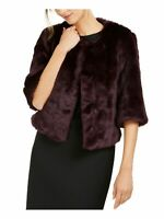 Calvin Klein Women's Jacket Deep Purple Size Medium M Faux Fur Shrug $159 #003