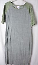 LuLaRoe Julia Dress Heather Grey with Heather Green Raglan Sleeves Size L #6102