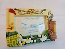 """Golf Theme Picture Frame Holds 2.5"""" x 3.5"""" Photo Yellow Green Resin Lady Jayne"""