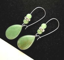 Natural Green Aventurine Tear Drop Gemstone Dangle Earrings with Beads #381