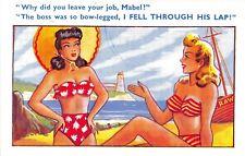 POSTCARD  COMIC   Seaside  Pretty  Girls  Bikini  Boss  Bow - Legged