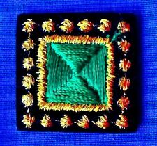 "Square Jewel Tones Iron-on Patch Green Gold Edge on Black Velvet 3/4"" #351V"
