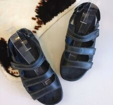 ECCO Black Leather Comfort Sandals SIZE 37 US 6 6.5 Adjustable Shoes Walking