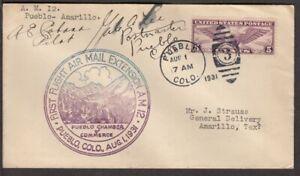 1931 First Airmail Flight CAM-12 Pueblo CO - Amarillo TX pilot Cabana signed (B