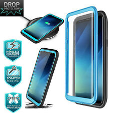 Samsung Galaxy S9 Case Shockproof Screen Protector Wireless Charging Blue Black