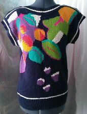 Vintage Sleeveless Sweater with Colorful Floral Design