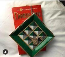 New Jonathan Adler Versailles Square Trinket Tray Green Gold Porcelain Geometric