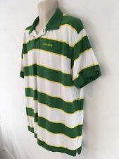 John Deere Mens XXL Green Stripe Jersey Cotton Polo Shirt