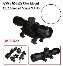 4X32 Compact Tactical Scope MilDot With Ring GSG 5 GSG522 Claw Mount Combo