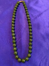 Beautiful Vintage Spinach Green Jade Bead Necklace with Gold Tone Clasp; 16.5""