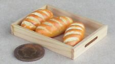 1:12 Scale 3 Bloomer Loaves Loose On A Wooden Tray Tumdee Dolls House Bakery