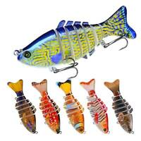 10CM Multi Jointed Fishing Lure Bait Bass Crank Pike bait Crankbait 6# Hooks