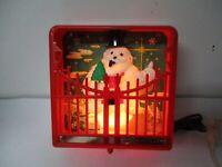 Vintage 1960's Harett Gilmar Electric Lighted Christmas Garden Scene Snowman