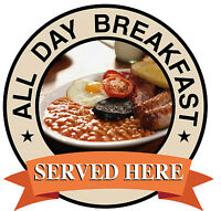 ALL DAY BREAKFAST SIGN Catering shop Sign Window sticker Cafe Restaurant decal