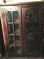 EARLY 20TH C ANTIQUE ARTS & CRAFTS MISSION DOUBLE DOOR BOOKCASE 51 x 38 x 16