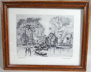 Lionel Barrymore Framed Art Print Old Red Bank Boatyard Sailboats Harbor Vtg
